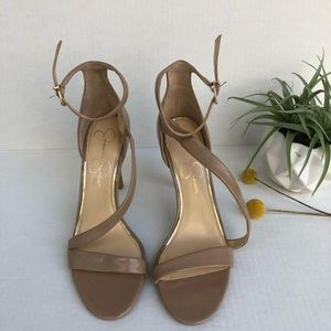 Jessica Simpson Strappy Camel Leather Heels S 7.5